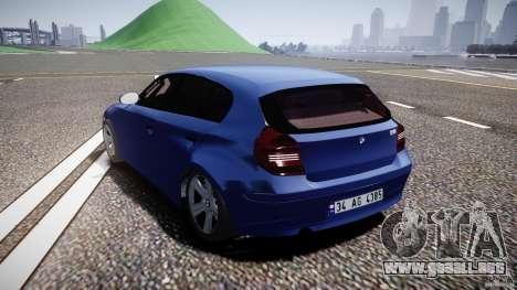 BMW 118i para GTA 4 Vista posterior izquierda