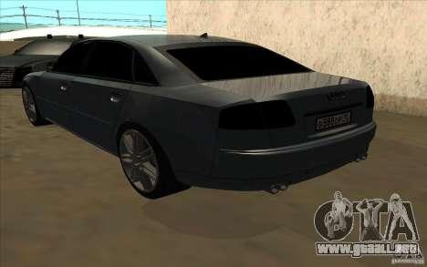 Audi A8l W12 6.0 para GTA San Andreas vista hacia atrás