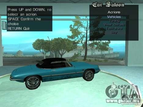Salón del automóvil para GTA San Andreas novena de pantalla