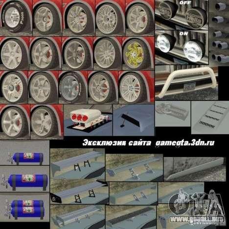 Nuevas piezas para tuning para GTA San Andreas