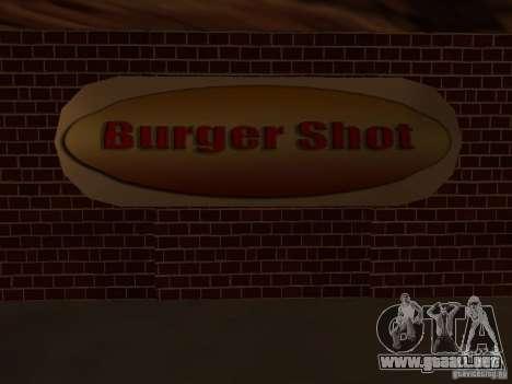 New Burger Shot para GTA San Andreas sucesivamente de pantalla