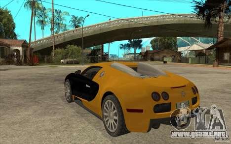 Bugatti Veyron v1.0 para GTA San Andreas vista posterior izquierda