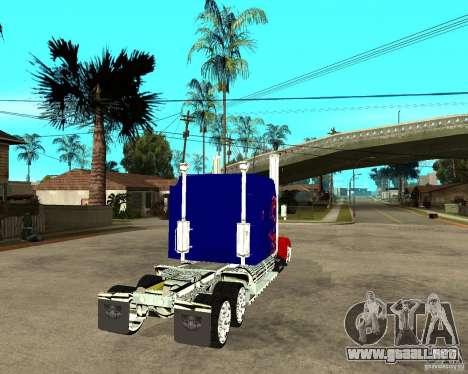 Truck Optimus Prime para GTA San Andreas vista posterior izquierda