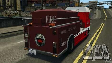 DAF XF Firetruck para GTA 4 Vista posterior izquierda