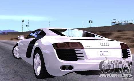 Audi R8 4.2 FSI para GTA San Andreas vista posterior izquierda