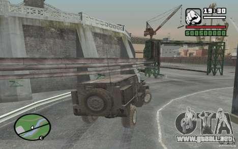 Camión militar para GTA San Andreas vista hacia atrás