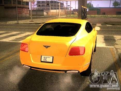 Bentley Continental GT 2011 para GTA San Andreas vista posterior izquierda