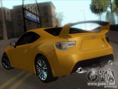 Toyota GT86 2012 para GTA San Andreas vista hacia atrás