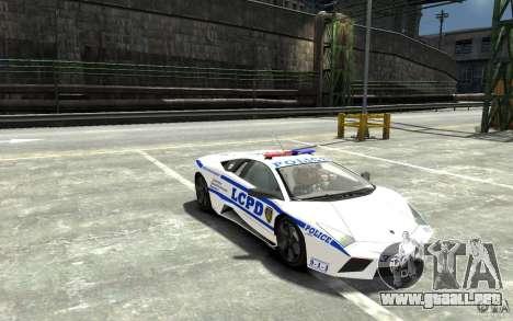 Lamborghini Reventon LCPD para GTA 4 vista hacia atrás