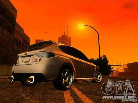 Subaru Impreza WRX 2008 Tunable para GTA San Andreas vista posterior izquierda