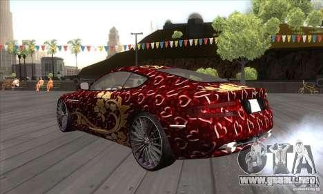 Aston Martin DB9 Female Edition para GTA San Andreas vista posterior izquierda