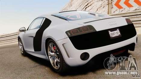 Audi R8 GT Coupe 2011 para GTA 4 Vista posterior izquierda