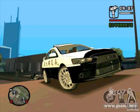Mitsubishi Lancer EVO X Japan Police para GTA San Andreas left