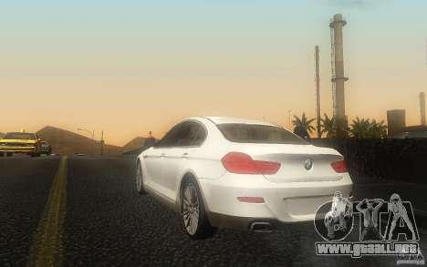 BMW 6 Series Gran Coupe 2013 para GTA San Andreas vista posterior izquierda