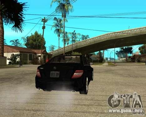 Mercedes Benz C350 W204 Avantgarde para GTA San Andreas vista posterior izquierda