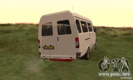 Gacela 32213 Novosibirsk Minibus para GTA San Andreas vista posterior izquierda