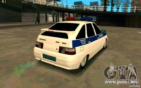 Policía Vaz-2112 para GTA San Andreas vista posterior izquierda