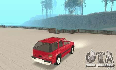 Chevrolet Tahoe 1992 para GTA San Andreas vista posterior izquierda