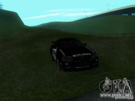 Nissan Skyline R34 Police para visión interna GTA San Andreas