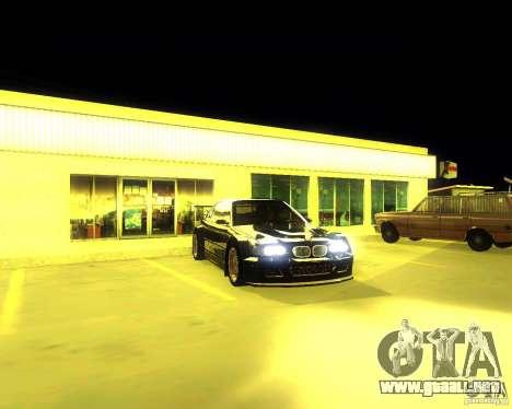 BMW E46 M3 GTR - Stock para GTA San Andreas vista posterior izquierda