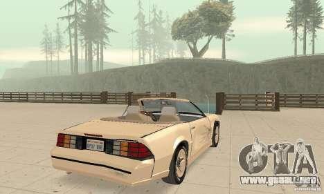 Chevrolet Camaro RS 1991 Convertible para vista inferior GTA San Andreas
