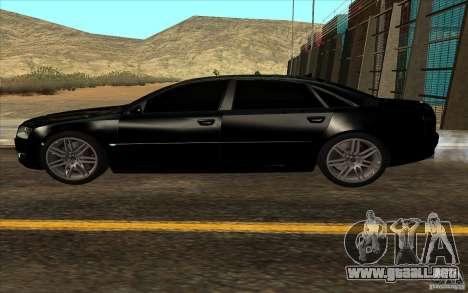 Audi A8l W12 6.0 para visión interna GTA San Andreas