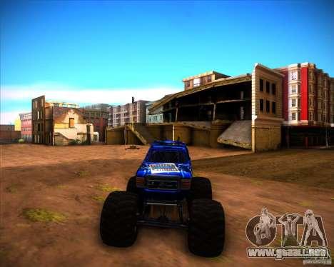 Monster Truck Blue Thunder para GTA San Andreas vista posterior izquierda