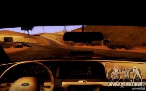Ford Crown Victoria TAXI 2003 para visión interna GTA San Andreas