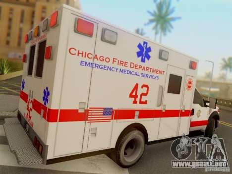 Ford F350 Super Duty Chicago Fire Department EMS para la visión correcta GTA San Andreas
