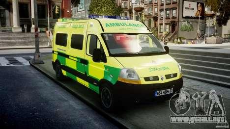 Renault Master 2007 Ambulance Scottish [ELS] para GTA 4 vista hacia atrás