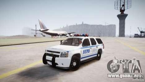 Chevrolet Tahoe 2012 NYPD para GTA 4 vista hacia atrás