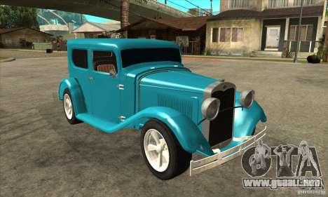 Ford A 1928 Hotrod para GTA San Andreas vista hacia atrás