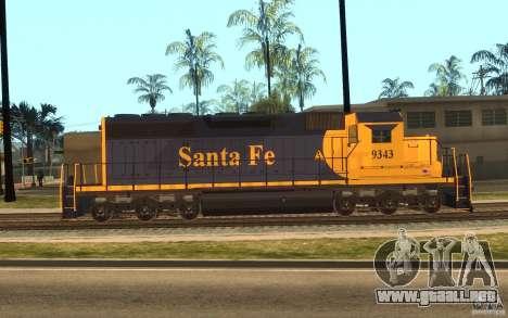 Locomotora SD 40 Santa Fe azul/amarillo para GTA San Andreas left