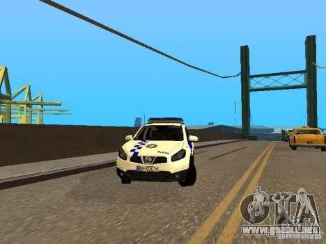 Nissan Qashqai Espaqna Police para GTA San Andreas vista hacia atrás