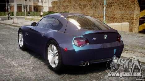 BMW Z4 V3.0 Tunable para GTA 4 Vista posterior izquierda