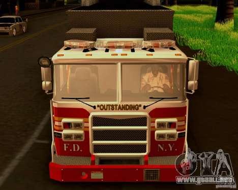 Pumper Firetruck Pierce F.D.N.Y para GTA San Andreas vista hacia atrás