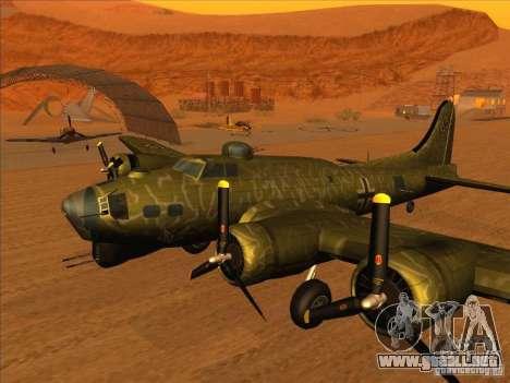 G B-17 Flying Fortress (Nightfighter versión) para GTA San Andreas vista posterior izquierda