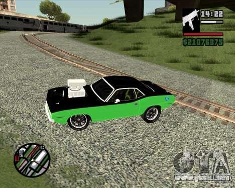 Plymouth Hemi Cuda 440 para GTA San Andreas vista hacia atrás