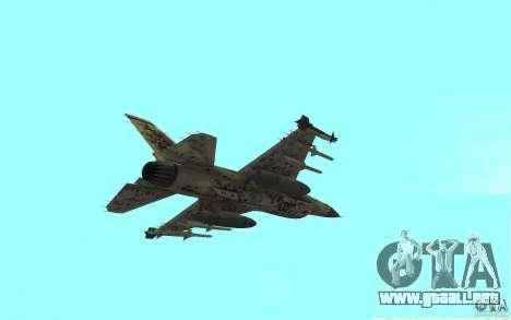 F16C Fighting Falcon para GTA San Andreas vista posterior izquierda