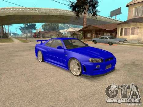Nissan Skyline GT-R R34 from FnF 4 v.2.0 para GTA San Andreas