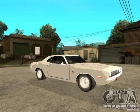Dodge Challenger R/T Hemi 70 para la visión correcta GTA San Andreas