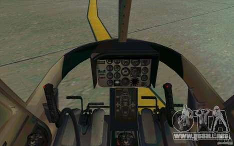 Bell 206 B Police texture1 para GTA San Andreas vista hacia atrás