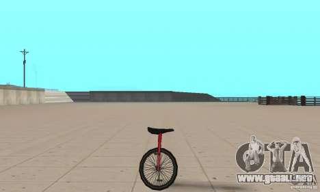 Unicycle para GTA San Andreas vista posterior izquierda
