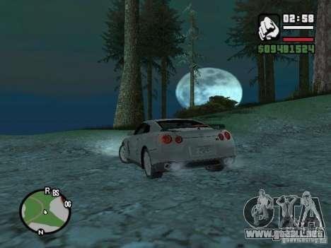 Nissan Skyline GTR para GTA San Andreas vista hacia atrás