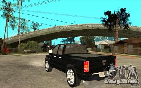 Dodge Ram 2500 2008 para GTA San Andreas vista posterior izquierda