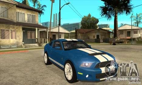 Ford Mustang Shelby GT500 2011 para visión interna GTA San Andreas