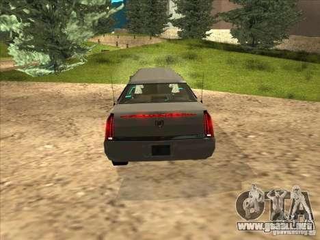 Cadillac DTS 2008 Limousine para la visión correcta GTA San Andreas