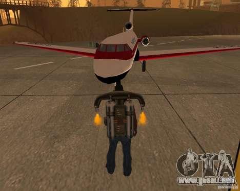 El avión Yak-40 para GTA San Andreas vista hacia atrás