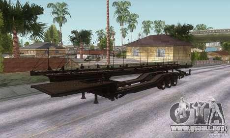 El camión de remolque para GTA San Andreas vista posterior izquierda