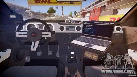 Saleen S281 Extreme Unmarked Police Car - v1.1 para GTA 4 vista hacia atrás